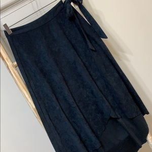 LUSH | S | NWT navy faux suede wrap skirt with tie